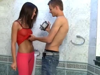 Instruct Caprice turned pissing & copulates atop camera right in the toilet section