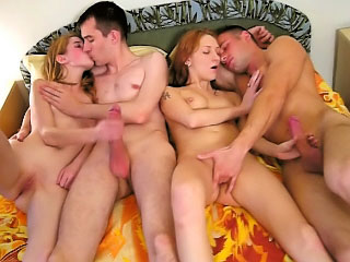Three lovable downcast babe obtaining gaped by several brazen dudes