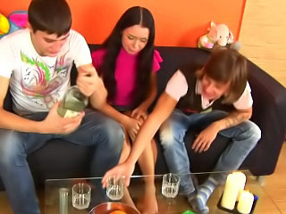Four guys drilling loved hot teen in 'round seductive holes