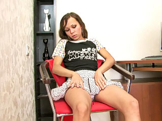 Hot and lonesome minor blonde masturbates pussy on the couch