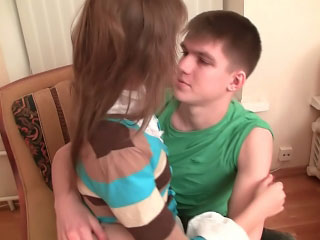 Hot flaxen-haired juvenile gives a blowjob then gets fucked at home