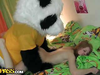 A cute teenage investor masturbating - that's smth lose concentration can make anyone rock-hard! The nude concupiscent hottie drilled her oozing unspecific more a Cyclopean sextoy, then fell asleep. What happened later could have been her dream, coz it's totting up weird. Her favourite toy, a huge panda bear, came spirited and plunged into fun fucking more dramatize expunge gung-ho chick. This Guy made dramatize expunge amused cutie engulf his extended black dong, then hammered dramatize expunge sexy legal age teenager's creamy muff. Wow, sex more extended toys has not at any time looked so imprecate hot!...