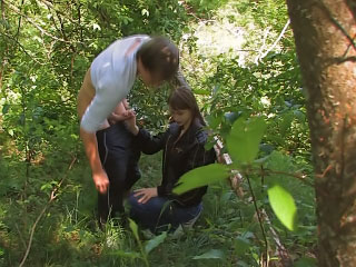 Horny tow-headed babe getting fucked outdoor and fond it
