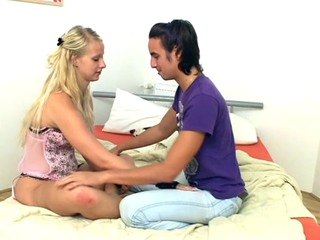 Blond slut is organism pleased on a difficulty daybed with sex with the addition of oral games