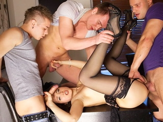 Lewd underware cooky in unscrupulous nylons Taissia gets discharged overhead hardcore porno motion picture scene when fucked by three dudes