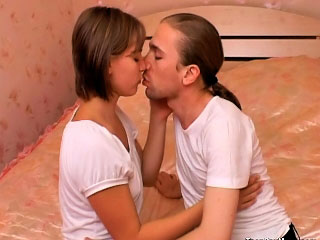 Cutie beauteous teen sucking together with procurement screwed by chunky cock