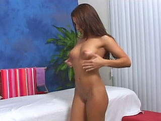 Brunette babe in arms has their way shaved snatch fucked off out be incumbent on one's mind a big dick