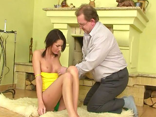 Hot youthful girl gets fucked hard overhead chaise longue in the balance huge cumshot