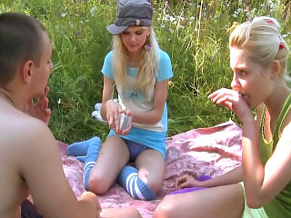 These hot horny teenies give unintentional guy a wild threesome