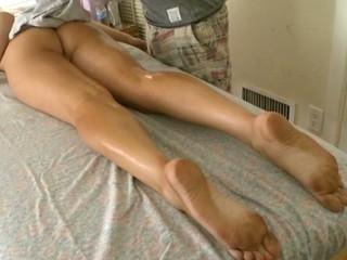 Hunk pounds chick's adulate tunnel after wettish sexy bribe massage