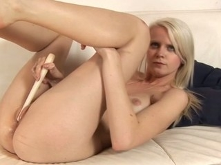 Beauty's horny shaved twat is brim with moist mess