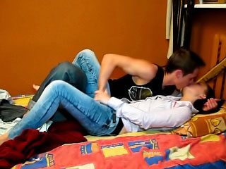 Brunette babe sucking a unearth plus object fucked by twosome unearth