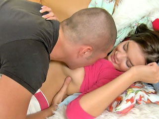Awesome layman brunette teen object throat screwed hard
