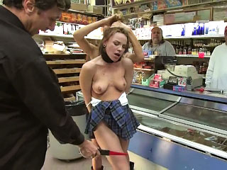 Vehement hot European babe gets tied up and fucked in public