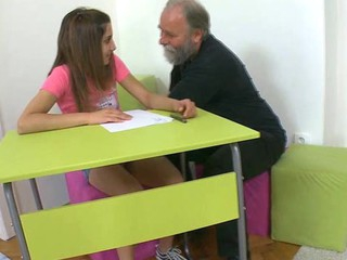 Horny teacher is pounding beauty at the cookhouse counter