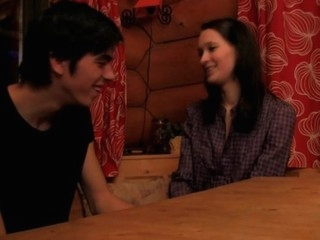 Amazing sex session with a skinny dark brown in the first place the wooden table