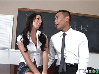 A schoolgirl gets a older schlong too large for her taut whine