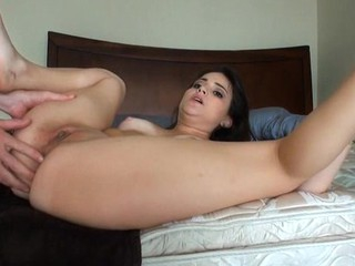 Lustful beauty widens legs feeling how realize butt gets drilled
