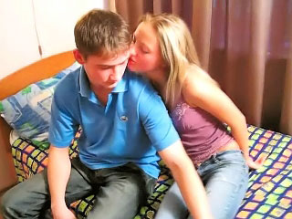 Amazing blonde teenie suckes added alongside gets fucked by dirty man