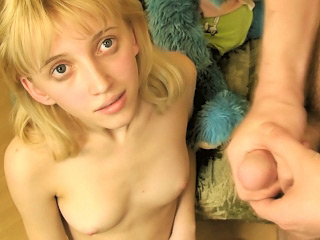 Ache legged blonde teen shows off the brush tight shaved pussy