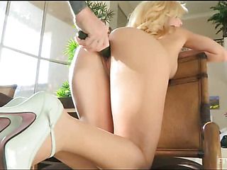 Girlie is not without equal posing but stuffing pussy by big dildos